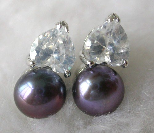 Beauty 8.5mm black FW pearl rhinestone earring