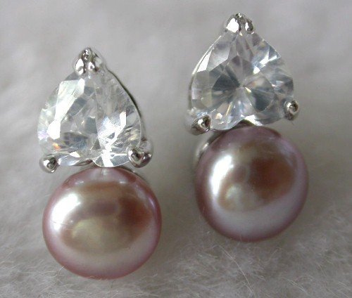 Beauty 8mm lavender FW pearl heart rhinestone earring