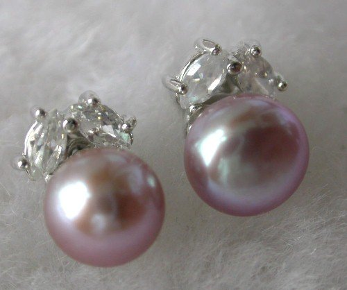 Beauty 8mm lavender FW pearl rhinestone earring