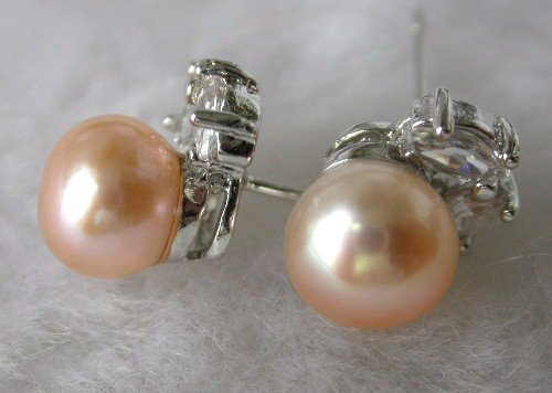 Beauty 8mm pink FW pearl rhinestone earring