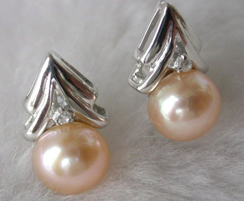Beauty 8mm pink FW pearl tree earring