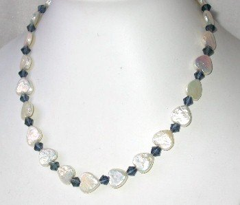 Beauty! 18'' 12x12mm white biwa pearl blue crystal