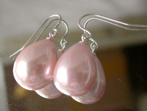 Beauty10x15mm pink drop shell pearl earring-silver hook