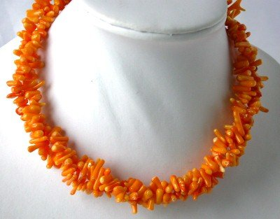 Charming! 16'' double orange branch coral necklace