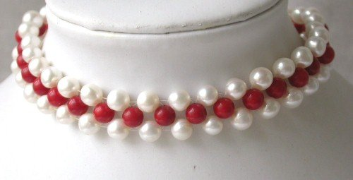 Elegant! 15'' 8mm white pearl red coral choker necklace