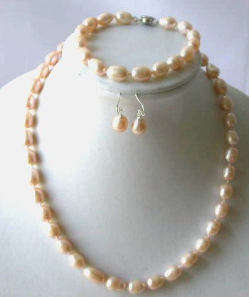 Elegant! 17'' 7.5 8-9mm pink rice pearl necklace set