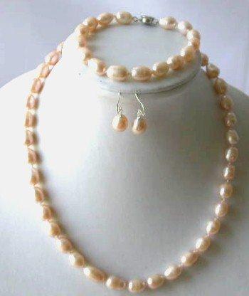 Elegant! 17'' 7.5 8-9mm pink rice pearl necklace set