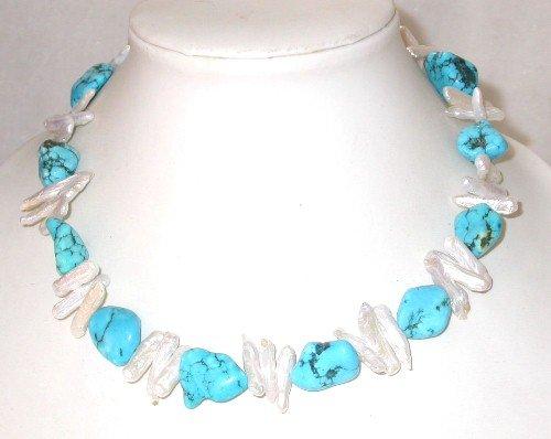 Elegant! 17'' white biwa pearl turquoise necklace