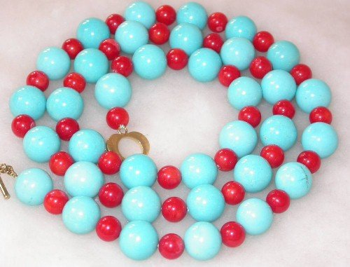 Fancy 22'' 12mm blue turquoise red coral necklace