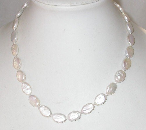 Genuine 17'' 14K clasp 10x12mm white biwa pearl necklace