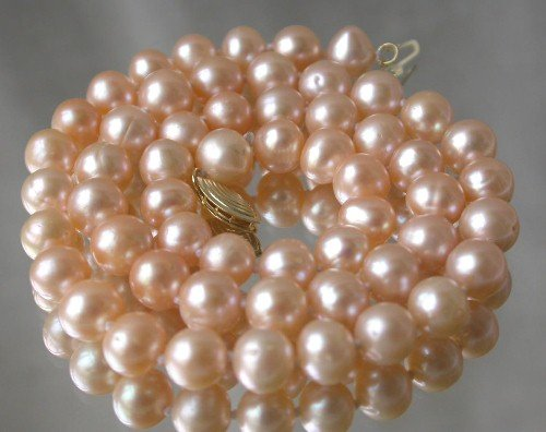 Genuine 17'' 7-8mm pink round pearl necklace-14K clasp