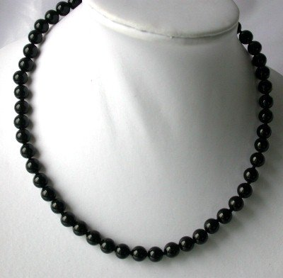 Genuine 17'' 8mm black round agate necklace