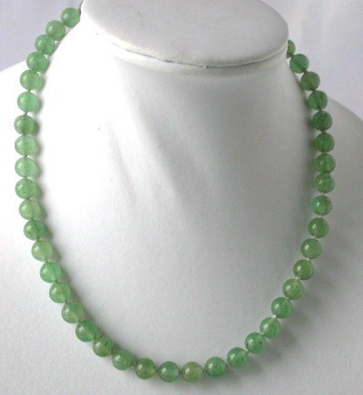 Genuine green round jade necklace