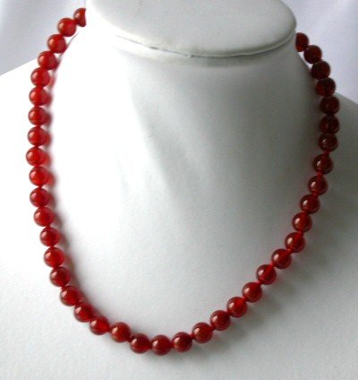 Genuine 17'' 8mm red round agate necklace