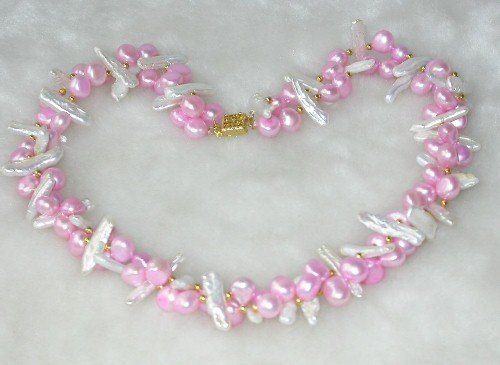 Genuine 17'' double 8-9mm pink & white pearl necklace