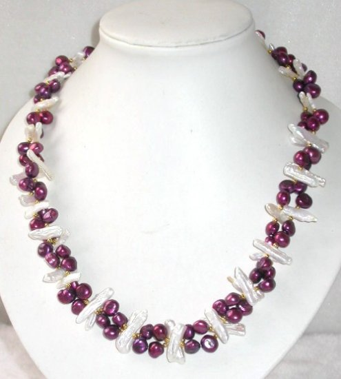Genuine 19'' double wine red pearl shell clasp necklace