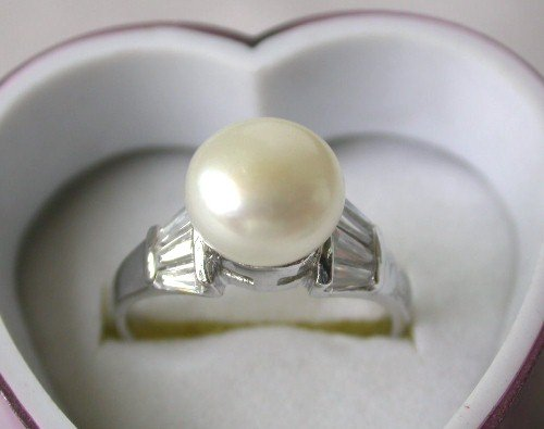 Genuine 7.5# 8.5mm white FW pearl rhinestone ring