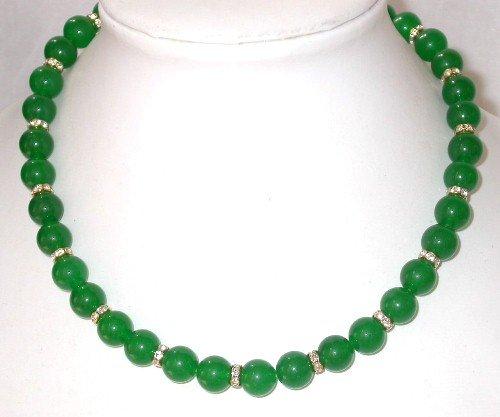 Gorgeous 17'' 10mm green jade beads rhinestone necklace