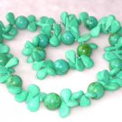 Gorgeous 17''/7.5'' green turquoise necklace bracelet set