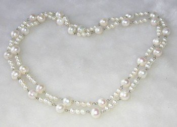 Gorgeous 34'' genuine pearl silver chain necklace