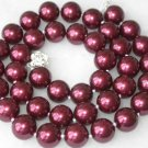 Graceful 10mm wine red Seashell pearl silver clasp necklace