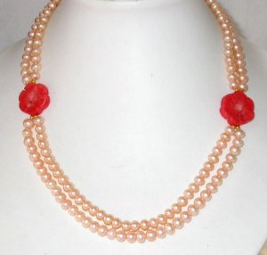Graceful 17-18 double pink pearl red coral necklace