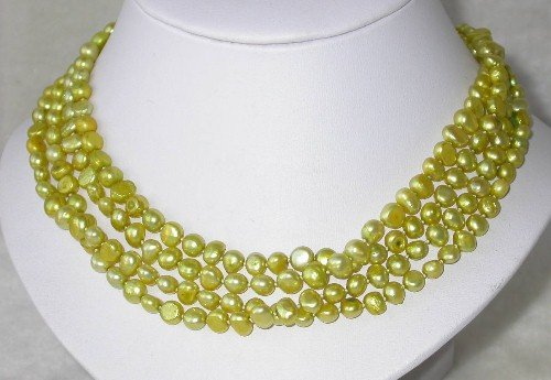 Graceful 17'' 4-rows 6-7mm green pearl necklace