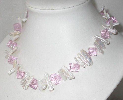 Graceful 17'' white biwa pearl pink crystal necklace