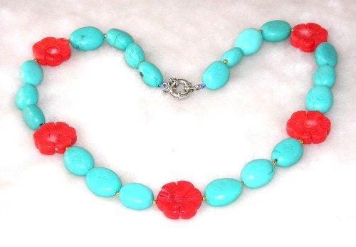 Graceful 18.5'' 10x15mm blue turquoise red coral necklace