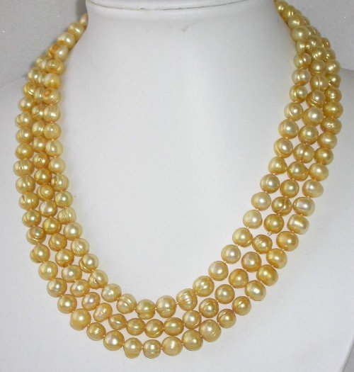 Graceful 65'' long 8-9mm yellow pearl necklace