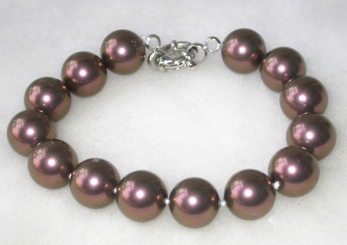 Graceful 7.5'' 12mm brown seashell pearl bracelet
