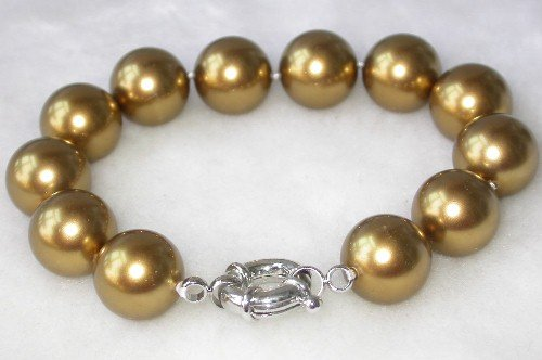 Graceful 7.5'' 12mm coffee seashell pearl bracelet