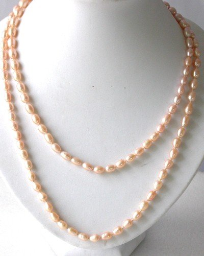 Lustrous ! 51'' 7-8mm pink rice pearl necklace