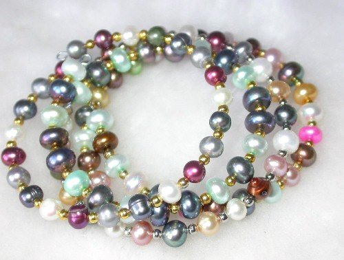 Wholesale 4 pcs. 7'' multi-color pearl wire bracelets