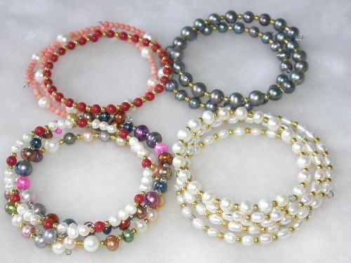 Wholesale 5 pcs. 7'' multicolor pearl gem bracelets