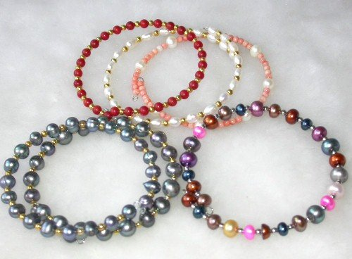 Wholesale 5 pcs. 7'' multi-color pearl gem bracelets