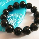 Stylish 14mm Black Agate Beaded Bracelet