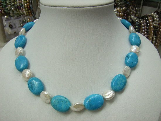"17"""" Blue Turquoise and Fresh Water Pearls Necklace"