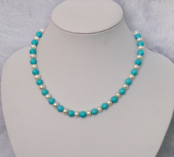 "17"""" 8MM Fresh Water Pearls and Turquoise Necklace"