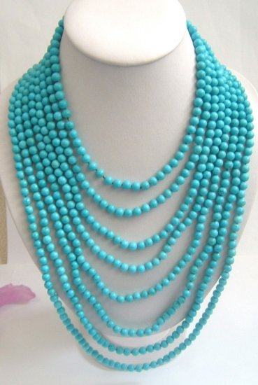 8 strands sky-blue turquoise beads necklace SS925 clasp