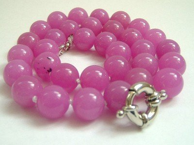 Graceful 12mm AA Peachblow Jade Bead Necklace