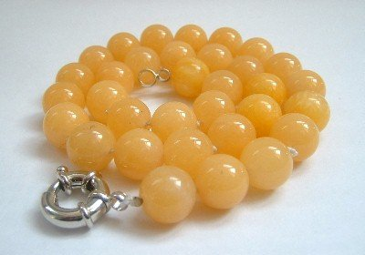 Graceful 12mm AA golden Jade Bead Necklace