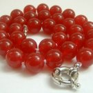 Graceful 12mm red Jade Bead Necklace
