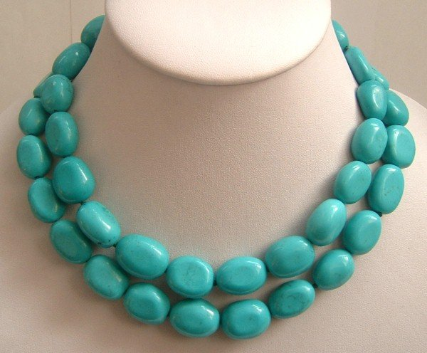 blue turquoise beads SS-925 silver necklace