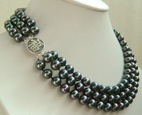16-18'' 8mm black bright seashell pearl necklace