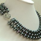 16-18'' 8mm black bright seashell pearl necklace