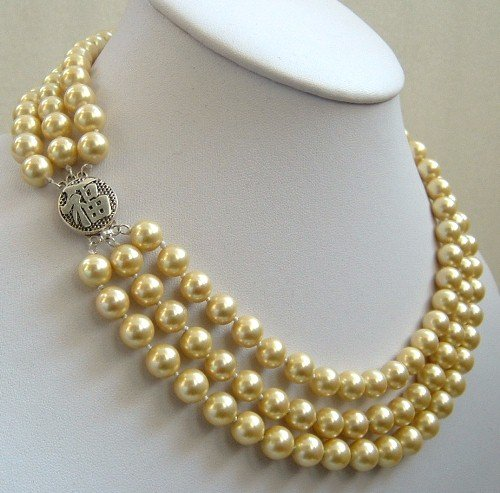 16-18'' 8mm yellow sea shell pearls necklace
