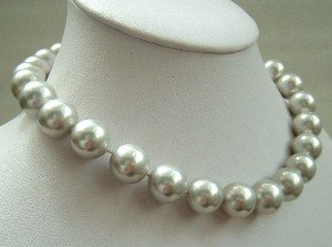 17'' 14mm grayish colors sea shell pearls necklace