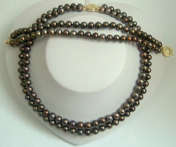 2 strands Real black freshwater pearls necklace set