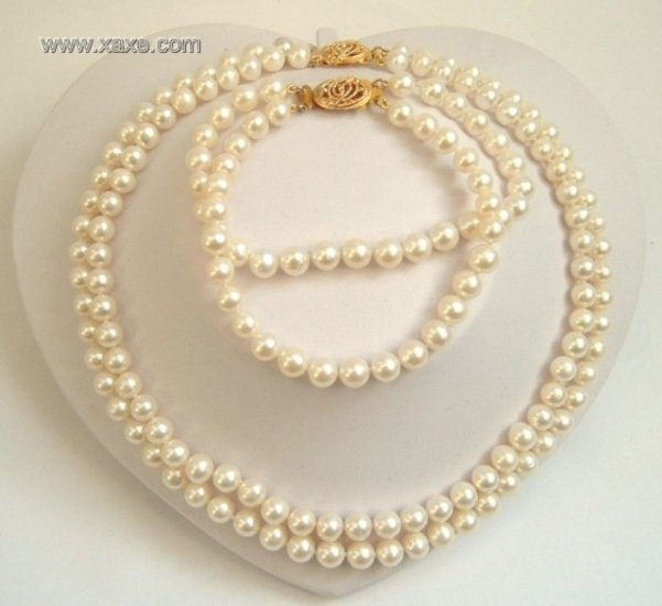 2 strands Real white freshwater pearls necklace set